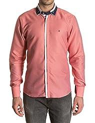 Sinigual - Camisa lisa de hombre con puños reversibles, cuello americano abotonado y botones semi ocultos