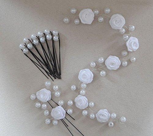15Tlg.Kopfschmuck Set Haardraht,Haarranke,Rosen&Perlen,Hochzeit, kommunion (weiß)