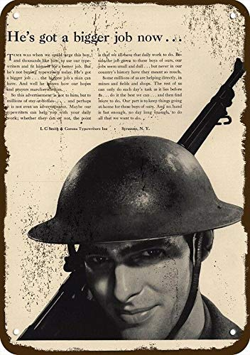 Metallschild, Motiv: Oremovqweenry, 1942 L, C Smith & Corona Typewriter, Vintage-Optik, Metallschild, Soldier