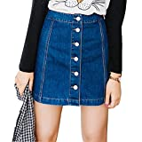 Gonna a Vita Alta Donna Fashion Colore Puro A-Line Denim Skirt Retro Estate Casuale Gonna di Jeans Plus Size