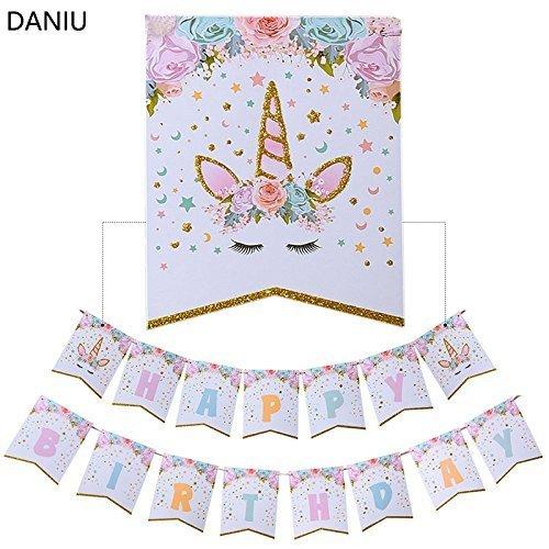 Einhorn Party Supplies Alles Gute Zum Geburtstag Bunting Banner Rainbow Unicorn Unter Dem Motto Party Dekorationen für Niedliche Fantasy Fairy Girls Geburtstagsparty