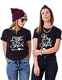 Best Friends T-Shirts Für Zwei Beste Freundin Tshirt Big Little Tshirt BFF Geschenke (Schwarz, Big-M+Little-S)