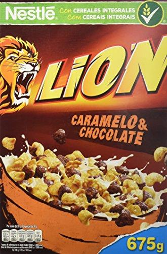 Cereales Nestlé Lion Cereales de trigo y arroz tostados con crema de caramelo y chocolate - 16 paquetes de 675 gr