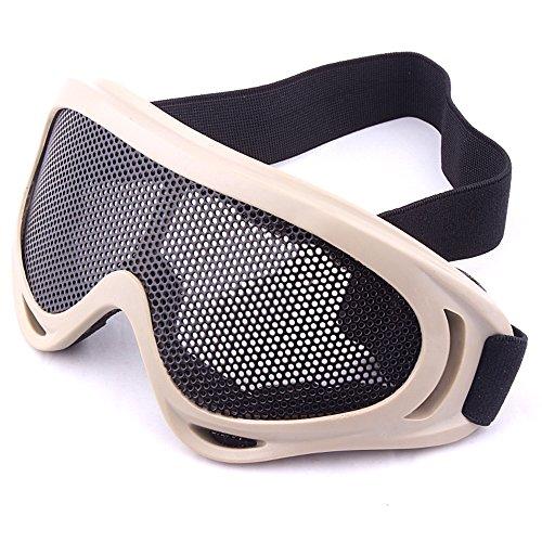 sijueam® Softair Metall Mesh Brillen Anti Nebel Tactical Military CS Shooting Paintball Eyewear Brille Maske Eye Sicherheit Schutz Pinhole Maske–für Outdoor-Aktivitäten, Radfahren, Krieg Spiel etc. khaki