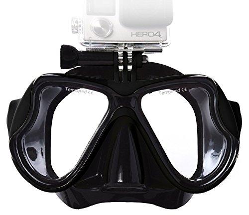 Lyhoon Tauchmaske Taucherbrille für Aktionssportkamera Kompatibel mit GoPro/Xiaomi yi/SJ4000 für schwimmen und tauchen (Schwarz, Erwachsene)