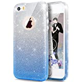 Cover iPhone 5S,Cover iPhone SE,Custodia iPhone SE / iPhone 5S 5 Cover,ikasus® Layer 3 Crystal Clear Hard PC & Soft TPU & Glitter Stickers con Sfumatura di colore Caso Custodia custody sleeve Case Cover per iPhone SE / iPhone 5S 5 Custodia Cover [Bling Crystal Sparkle] [Shock-Absorption] lucido Sparkly Bling di lusso Protettiva Trasparente Ultra Sottile Silicone Gel Cover Custodia chic Crystal Clear Case Super Sottile Bumper Case Custodia Cover per Apple iPhone SE / iPhone 5S 5 - gradiente Blu