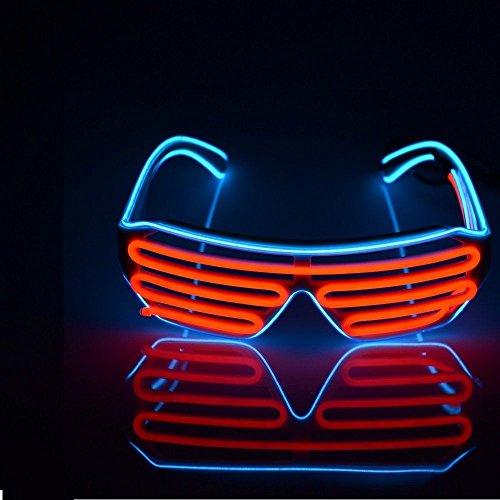 El Wire Blinkie Neon LED Light Up Shutter Shaped Glasses Sonnenbrille Bar ()