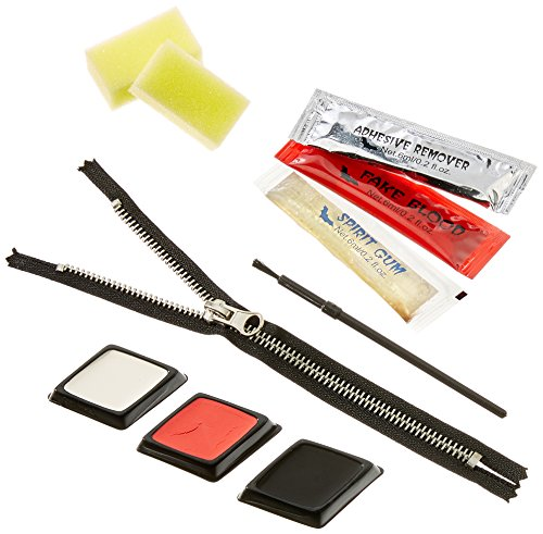 een gruseliges Schmink-Set Zipper - Make-Up Set mit klebendem Reißverschluss und Kunstblut (Halloween Zombie Make-up-ideen)