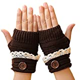 Cute Lace Winter Ladies Hand Warm Warmer Knitted Fingerless Mitten Half Thumb Hole Gloves