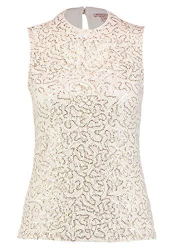 Anna Field Damen Shirt mit Spitze - Jerseyshirt mit Pailletten ärmellos - Top beige in Größe 40