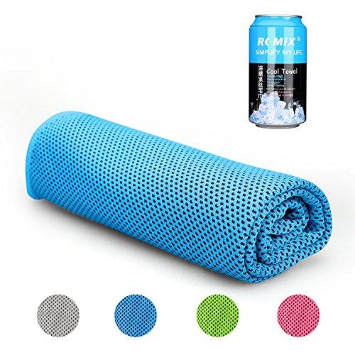 Mikrofaser-Handtuch, ROMIX Kühlhandtuch Reisehandtuch Fitness- und Sporthandtuch eiskalt, saugfähig, schnelltrocknend, streichelweich 30 x 120 cm (Blau)