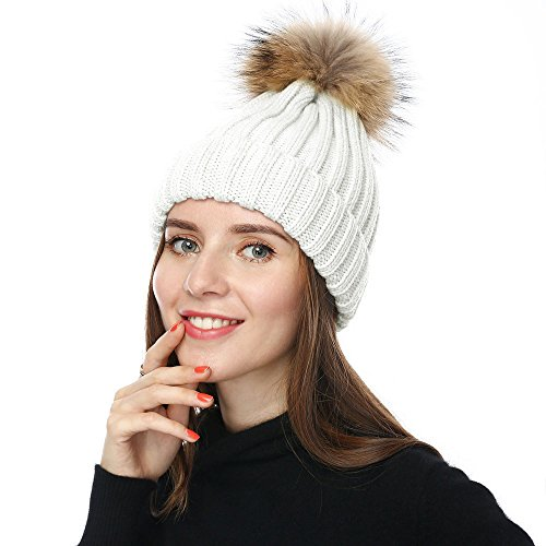 JULY SHEEP Chapeau d hiver pour femme En laine avec pompon - Blanc - a0333c4cdad