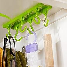 Hokipo&Reg; Plastic Cabinet Ceiling Rack Hanger Organizer, 6 Hooks, White