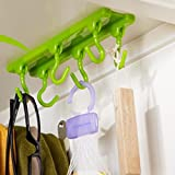 #9: HOKIPO 6 Hooks Kitchen Bathroom Cabinet Ceiling Rack Hanger Organizer with Adhesive Tape / Screw Fixing Options (Color: White)