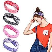 GBYAN headband women for yoga,4 Pack Boho Headbands for Women Vintage Head Wrap Twisted Cute Hair Accessories