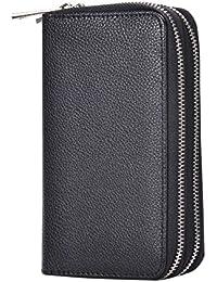 bangbo con doble cremallera garras bolso cartera monedero de piel sintética lichi grano, ranura para tarjeta soporte para teléfono para teléfono celular iPhone 7/7Plus/se/6S/6Plus/5S y Samsung Galaxy S8/8Plus/S7/S6 negro