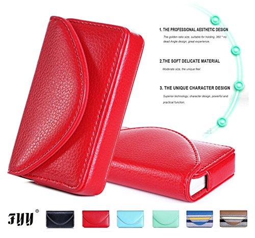 FYY 100% Mano Fatto Premio Pelle Portafoglio Nome Carta Case Universale Carta con Chiusura Magnetica (Contiene 30 Foto di Carte) Rosso