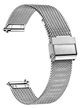 XIRUVE Quick Release Stainless Steel Mesh Replacement Watch Band for Women Men 12-24mm (22mm, Silver)