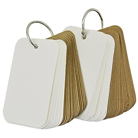 Rancco® 96 Papier épais Kraft Binder Ring Easy Flip Carte Flash Cartes d'étude / Memo Scratch Pads / Bookmark / DIY Cartes de vœux / Index Card Cartes de vœux (2 séries, 48 feuilles par jeu)