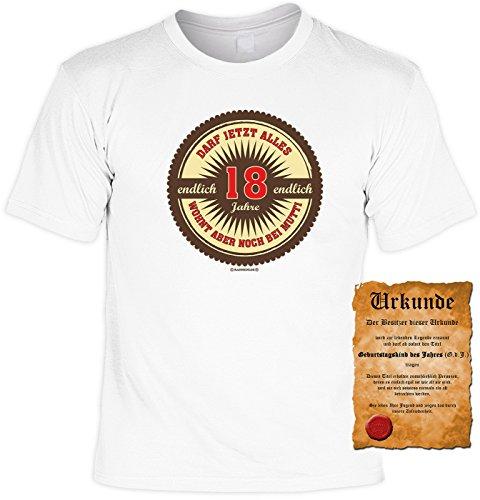 Geschenk zum 18. Geburtstag Sprüche Motiv Fun T-Shirt Geschenkidee Männer auch in Übergrößen 3XL 4XL 5XL Weihnachtsgeschenk weiß-01
