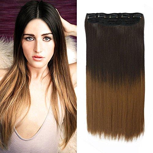 Neverland 24'' 5 clips Extensions de Cheveux Raides Longs Perruques #2