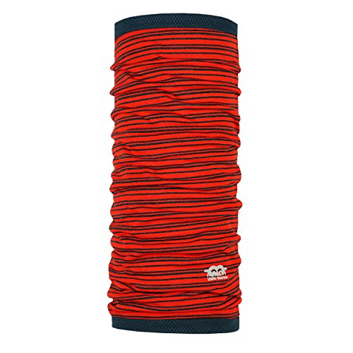 P.A.C. Merino Cell-Wool Pro Stripes Red Multifunktionstuch - Merinowoll Schlauchtuch, Halstuch, Schal, Kopftuch, Damen, 10 Anwendungsmöglichkeiten (Schal Wolle Merino Stripe)