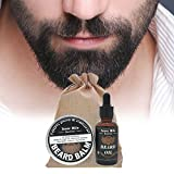 Oshide Bartpflege Set Das Bartpflege Geschenk-Set für Männer - Naturelle Bart Balsam (60g) + Naturelle Bartöl(30ml)