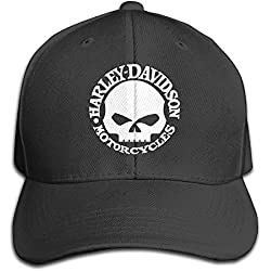 Walter Margaret Harley Davidson Skull Men and Women Black Adjustable Cotton Gorra de béisbol Gorra Hat