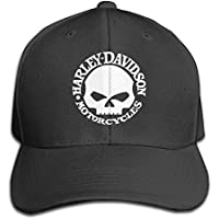 Walter Margaret Harley Davidson Skull Men and Women Black Adjustable Cotton Gorra de béisbol Gorra Hat