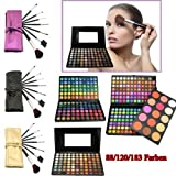 80/120/183 Farben Lidschatten Palette Eyeshadow Makeup Eye Colour Palette Kosmetik Set Kit + 7 Pinsel (183 Farben + 7 Pinsel Lila) - MR306