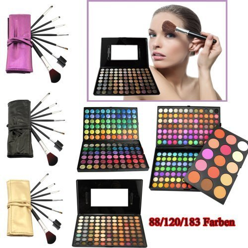 PALETTE 168 COLORI TROUSSE OMBRETTI MAKE UP, 15 fard + 7 PENNELLI TRUCCO PROFESSIONALE - MR306