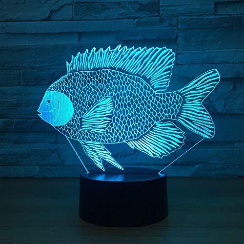 LXXYD 3D Visuelles Licht Optische Täuschung Führt 7 Farben Ändern Tilapia Afrikanischen Wels D Fisch 3D3D Lichter Led Lade Touch Button Tischlampen Kinder Erstaunliche Dekoration Geschenke -