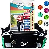 FunH2OBelt (Turquoise - Grand) Cinturón Hidratación con Botellas de Agua de 175ml - Riñonera para Exteriores y Deportes, Andar en Bicicleta, con Bolsillo a Prueba de Agua para Teléfonos Inteligente