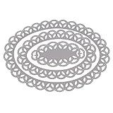 Hergon Mehrschichtiger hohler ovaler Rahmen Stanzschablone Scrapbooking, Metal Stanzformen Schablone DIY Scrapbooking Prägeschablonen Album Papier Karte Handwerk