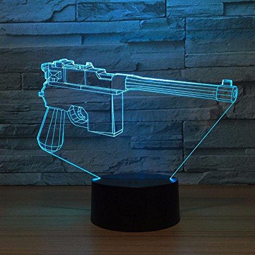 Pistole Form Acryl LED 3D Illusion Lampe USB 7 Farbwechsel Fernbedienung Touch Abbildung 3D Nachtlicht Stimmung Neuheit Lampe Urlaub Geschenke han-10302