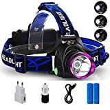 Lightess Superhelle LED Stirnlampe Kopflampe Licht mit 3 Modi, nachladbare XM-L T6 LED Leistungsstarke Scheinwerfer, 2200 Lumen wasserdichte Scheinwerfer-Taschenlampe für Camping Angeln Radfahren Laufen Wandern Jagd