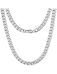 """Silvadore 9mm CURB Mens Necklace Silver Chain Cuban - Stainless Steel Jewellery - Neck Link Chains for Men Man Women Boys Kids - 18"""" 20"""" 22"""" 24"""" - 8mm Bracelet 7.5"""" 8"""" 8.5"""" 9"""""""