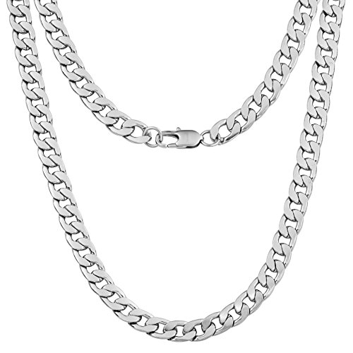 """Silvadore 9mm Curb Mens Necklace Silver Chain Cuban - Stainless Steel Jewellery - Neck Link Chains for Men Man Women Boys Kids - 18"""" 20"""" 22"""" 24"""" - 8mm Bracelet 7.5"""" 8"""" 8.5"""" 9"""" - Flat 2mm Thick"""