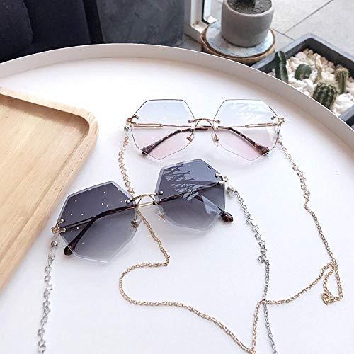 Sonnenbrille Frauen randlose Brille mit Kette Sonnenbrille weibliche koreanische Version der UV-Schutz Sonnenbrille Outdoor-Brille-8