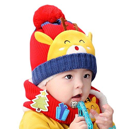 Hikfly Winter Strickmütze Schal Set für Baby Mädchen Jungen Kleinkinder Outdoor Sports Thermische Beanie Cap Hüte Mützen Warmer Schal Weihnachtsgeschenk (6-36 monate) (Rot, Deer) (Thermal Shirt Angeln)
