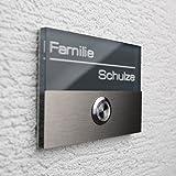Metzler-Trade® Edelstahl Türklingel Anthrazit - Namensschild inkl. Gravur/Beschriftung - LED beleuchteter Klingeltaster V2A, Klingelplatte, Klingelschild