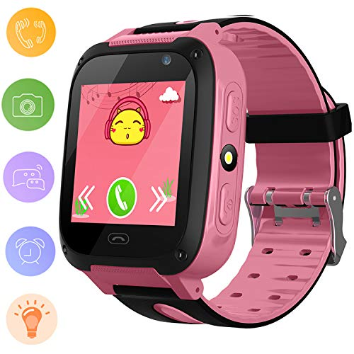 Reloj Inteligente para Niños Rastreador de GPS a Prueba de Agua - Reloj Infantil Reloj Digital Reloj Despertador SOS Cámara Reloj con Linterna Teléfono para niños de 3 a 12 años