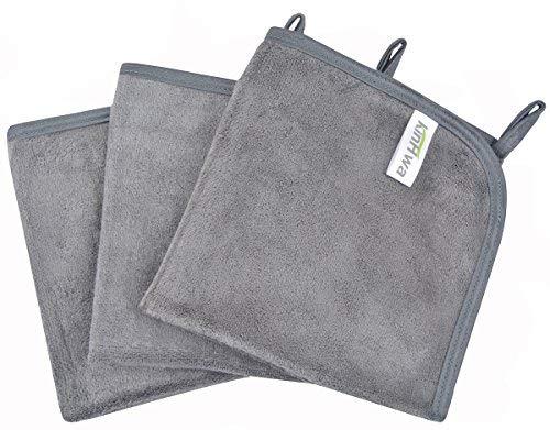 Kinhwa panno microfibra viso riutilizzabile panno struccante viso solo con acqua 30cm x 30cm 3 pezzi - grigio