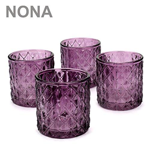 NoNa ORIS brombeer lila - 4er Set Teelichtglas - Teelichtgläser Kerzenglas Kerzengläser Windlicht Vintage orientalisch
