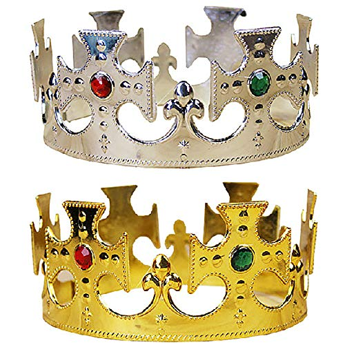 Newin Star Halloween Gold Royal König Kunststoff Kronprinzen Kostüm Zubehör für ()
