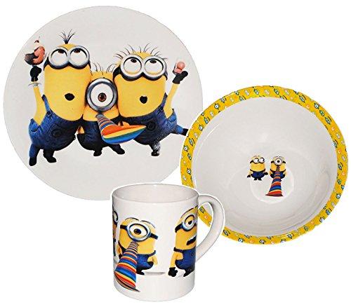 alles-meine.de GmbH 3 TLG. Geschirrset -  Minions - Ich einfach unverbesserlich  - Porzellan / Trinktasse + Teller + Müslischale - Kindergeschirr Keramik Frühstücksset / für Ki..