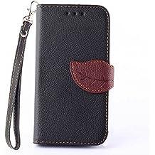 Samsung GALAXY Core 2/SM-G355H Funda,+Free Gifts Multifunctional Data Line SongNi® TPU Leather Wallet Funda,Leaf shape Magnetic Closure,Card Slot,Wallet,Stand,Flip leather Funda for Samsung GALAXY Core 2/SM-G355H-Black