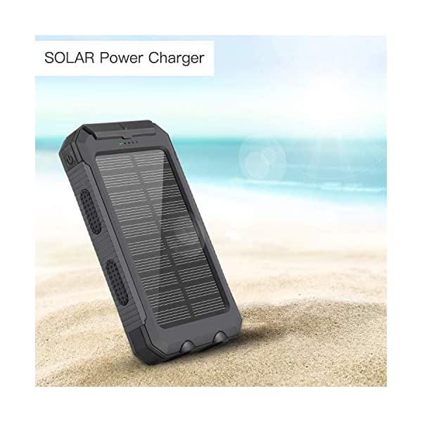 Power Bank Solar Charger 10000mAh Portable External Backup Battery Pack Dual USB Solar Phone Charger with 2LED Light for iPhone, iPad, Samsung, Android and other Smart Devices 5