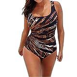 Koly Mujer traje de baño de una pieza Top Swimwear One Piece X-Forma Monokini Ropa de baño Bikiní Set Swimsuit Bañador Tallas Grandes Acolchado Push-up playa Tankini Bodysuits (Marrón, XL)