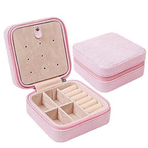 Vococal® Petit Cuir Pu Voyage Zipper-Bijoux/Storage Case D'Affichage Boîte de Rangement Organisateur pour Des Anneaux/Boucles/Collier Rose